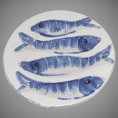 2 x Napa Home and Garden Made in Italy Vintage Fish Pesci Plates Blue