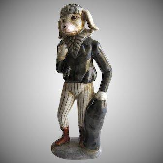 Vintage Pottery Glazed Poodle Standing Jockey