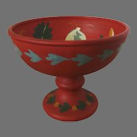 Vintage Hand Painted Folk Art Italian Footed Compote Bright Colors Made in Italy