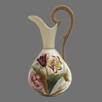 Late 19th Century Hand Painted Ewer Pitcher Tulips