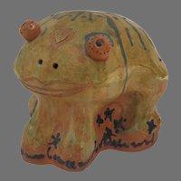 Large Vintage Earthworks Barbados Glazed Pottery Frog