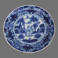 18th Century Delft Blue & White Man Woman Figures