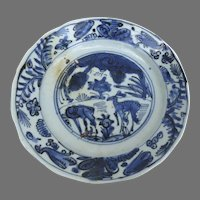 Chinese Ming Kraak Blue and White Plate Deers Fawns