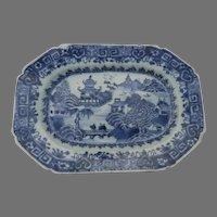 Chinese Export Blue and White Small Platter Pagoda Bridge