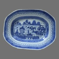 19th Century Chinese Canton Small Platter  Blue and White