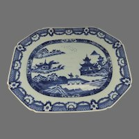 """Late 18th Century Chinese Blue and White Platter 14 1/2"""" by 11 1/4"""""""