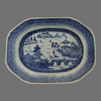 """Early 19th Century Chinese Blue and White Canton Platter 12 1/2"""" by 9 1/4"""""""