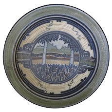 "Jim Stewart Large 15"" Charger Plate Art Pottery Stoneware Signed 1976"