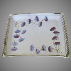 Pottery Large Tray by Colorado Artist Anita Garfein Signed Floral Country Kitchen