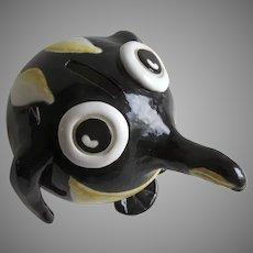 Vintage Ceramic Glazed Penguin Piggy Bank