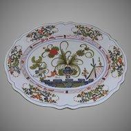Vintage Faenza Blue Carnation Large Platter Signed Bruno Brolli for Biordi
