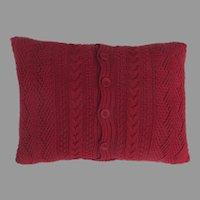Vintage Red Cotton Cable Knit Cushion Pillow Sham Ralph Lauren Down Filled