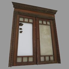 Salvage 1900's Cherry Interior Window with Key