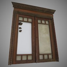 Salvage 1900's Cherry Interior Window with Key