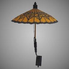 Vintage Chinese Cloth Umbrella Parasol with Custom Wall Bracket