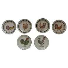 Set of 6 Vintage Williams Sonoma Rustic Tuscan Rooster Plates Made in Italy
