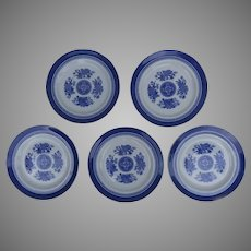 "5 x Vintage Copeland Spode Fitzhugh Blue and White 8"" Plates"