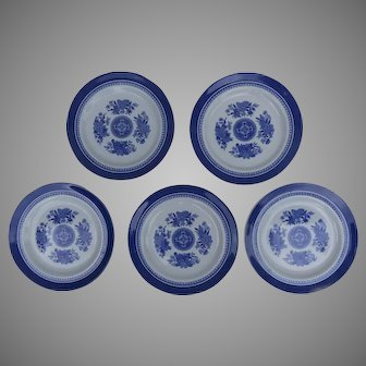 "5 x Vintage Copeland Spode Fitzhugh Blue and White 8"" Plates"