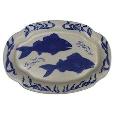 Vintage Large Chatham Pottery Platter Fish Motif Signed by Margaret Wilson-Grey