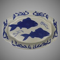 Vintage Large Chatham Pottery Platter Fish Motif Signed by Margaret Wilson-Grey