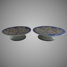 Pair English Pearlware Thomas Dimmock & Co Pearl Ware Leaves Cabbage Leaf Compotes c 1830