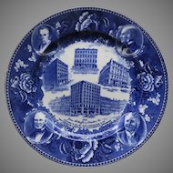 Vintage Wedgwood Blue and White Plate Historic Jones McDuffee  & Stratton
