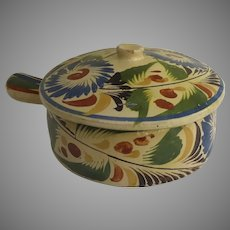 Vintage Mexican Pottery Casserole and Lid Hand Painted