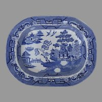 Large Mid 19th Century English Blue Willow Blue and White Platter Tray 17 1/2""