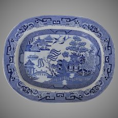 Large English Mid 19th Century Blue Willow Transfer Ware Platter by Joseph Clementson, Staffordshire