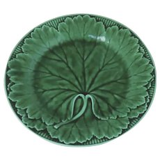 Mid 19th Century Wedgwood Cabbage Leaf Plate Green Glaze Majolica