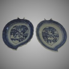 Two Chinese Export Blue and White Canton Leaf Dishes 19th Century