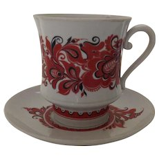 19th Century Large Chocolate Cup and Saucer Russian