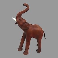 Large Vintage Leather Elephant Realistic Trunk Up Saddle Brown