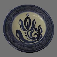 Large Vintage Folk Art Finland Pottery Blue White Bowl Ridges