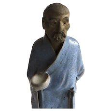 Vintage Chinese Scholar Mud Man Blue Robe