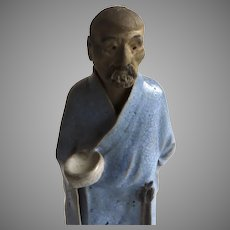 Vintage Chinese Scholar Mud Man Blue Robe