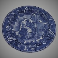 1900's Wedgwood Blue and White Transferware Plate Priscilla and John Alden