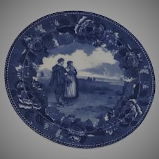 Blue and white Transferware Plate by Wedgwood from the Longfellow Series  American historical scene The Return of the Mayflower