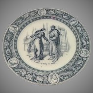 "Wedgwood Ivanhoe Blue Gray ""Rebecca gives a purse of money to Gurth"" c 1890"