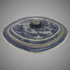 19th Century Blue and White Canton Chinese Serving Vegetable Lidded Dish Casserole
