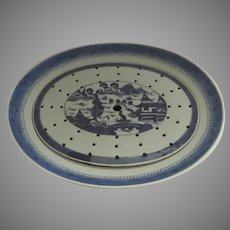 Chinese Export Canton Blue and White Oval Platter with Mazarine Drainer Rich Blue