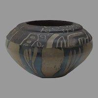 Vintage Artist Signed Pottery Earthenware Bowl Glazed Incised