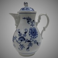"Vintage Bohemian Czechoslovakia Karlsbader Porcelain Coffee Pot in Blue Onion ""Original Zwiebelmuster"" Pattern"