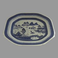 """19th Century Chinese Export Canton Platter 14"""" by 11"""""""