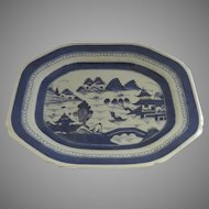 "19th Century Chinese Export Canton Platter 14"" by 11"""