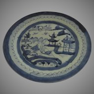 19th Century Chinese Canton Large Plate Blue and White