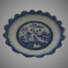 19th Century Chinese Canton Scalloped Edge Bowl Blue and White