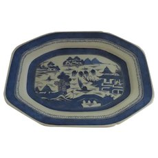 19th Century Canton Canted Corner Blue and White Platter Chinese Export
