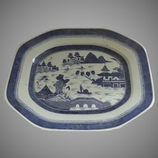 19th Century Chinese Canton Large Plater Blue and White