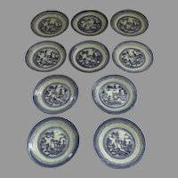 "10 x 5 3/4"" 19th Century Chinese Export Canton Small Plates 5 3/4"""